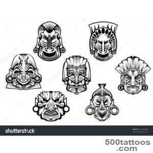 Religious Masks In Ancient Tribal Style Isolated On White For _31