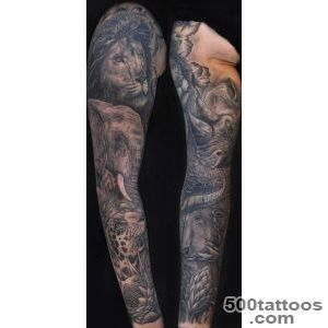 Awesome animals tattoo on full sleeve   Tattooimagesbiz_14