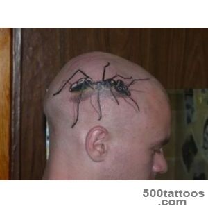 Large Ant Tattoo On Man Head  Tattooshuntcom_4