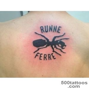 Runne Ferre Black Ant Tattoo On Upper Back_27