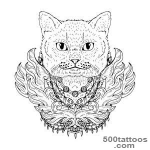 Black and white animal Cat head, abstract art, tattoo, doodle _38