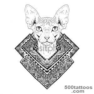 Black and white animal Cat head, abstract art, tattoo, doodle _46