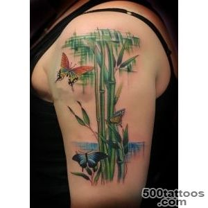 Bamboo And Butterfly Tattoo On Upper Arm  Tattooshuntcom_12