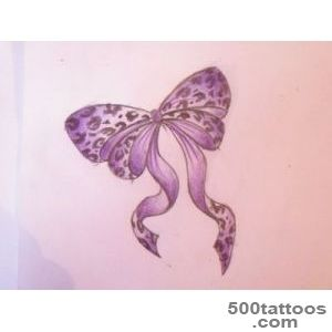 Leopard Heart Tattoo With Purple Bow  Tattoobitecom_31
