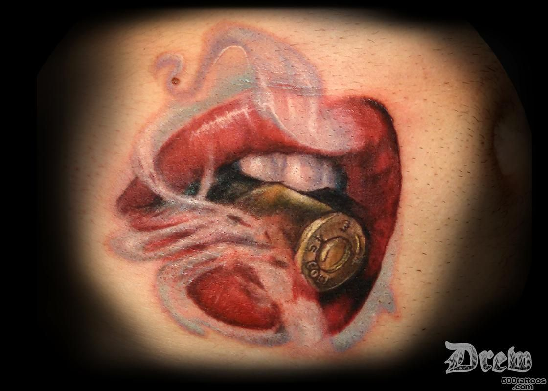 Lips Biting the Bullet by Drew Siciliano  Tattoos_28