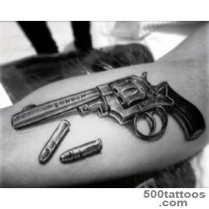 80 Pistol Tattoos For Men   Manly Sidearm Designs_11