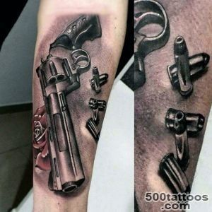 80 Pistol Tattoos For Men   Manly Sidearm Designs_36