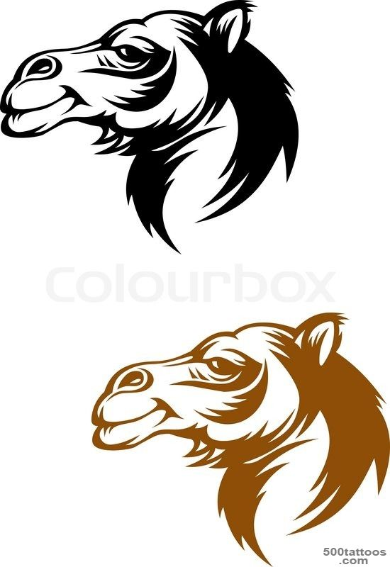 Camel head in cartoon style for mascot or tattoo design  Vector ..._27