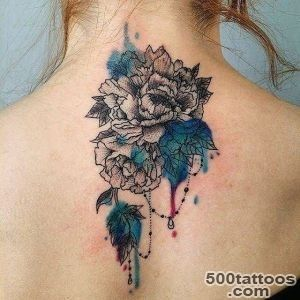 Back Neck Chrysanthemum Tattoo  Best Tattoo Ideas Gallery_44