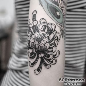 Grey And Black Chrysanthemum Tattoo On Elbow_16