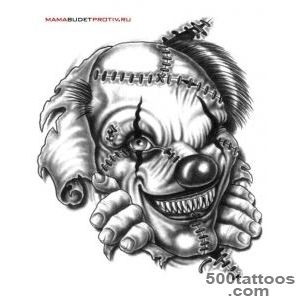 Interesting black and white monster clown tattoo   Tattoos photos_28