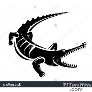 Black Crocodile Silhouette Isolated On White, For Mascot Or Tattoo _27
