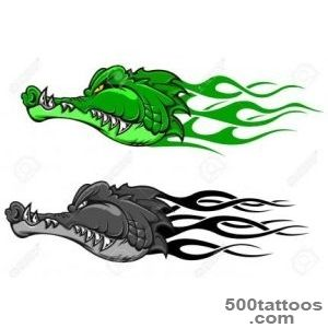 Danger Crocodile Tattoo With Tribal Flames For Mascot Design _30