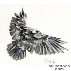 Big flying black and white crow tattoo   Tattoos photos_42
