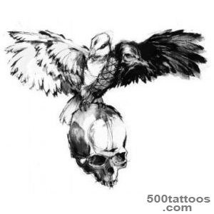 Black And Grey Skull Face In Crow Tattoo On Girl Forearm_13