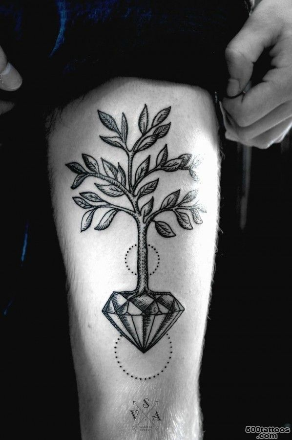 Gorgeous tree crystal tattoo on leg   TattooMagz   Handpicked ..._31