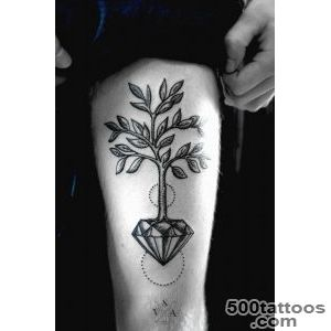 Gorgeous tree crystal tattoo on leg   TattooMagz   Handpicked _31