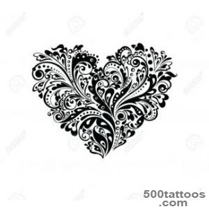 Heart And Flowers Tattoo Stock Photos Images, Royalty Free Heart _4