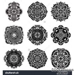 Set Of Decorative Rosette Tattoo Elements Stock Vector _24