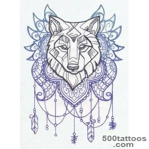 Wolf Totem Embroidered Decorative Linen by EmbroideredbySue _27