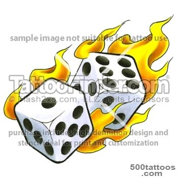 Flaming Red Dice Tattoo Design  Fresh 2016 Tattoos Ideas_35