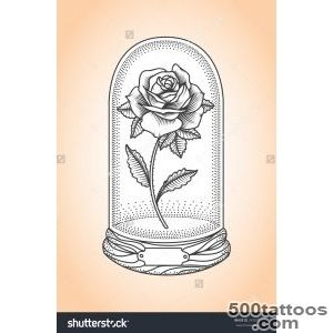 Rose Under A Glass Dome Tattoo Style Drawing Stock Vector _23
