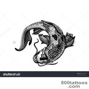 Tattoo Or Emblem Style Koi Fish Curled Stock Vector Illustration _28