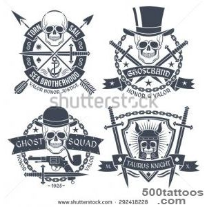 Vintage Emblem With Skull, Well Suited As Tattoos, T Shirt Text _42