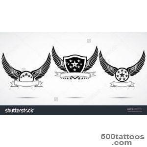 Wing Abstract Emblem Set, Logo Template, Badge Label, Icon, Tattoo _32