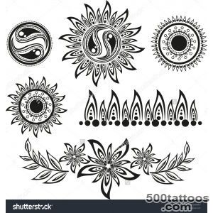 Set Ethnic Tattoos With Floral Elements Stock Photo 97294847 _16