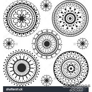 Set Ethnic Tattoos With Floral Elements Stock Vector Illustration _39