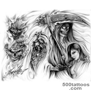 Grim Reaper And Evil Tattoo Design_10