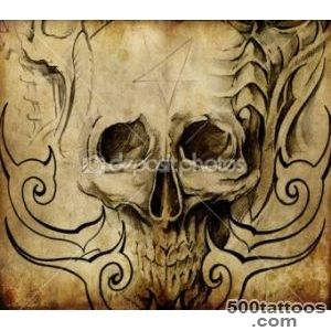 Tattoo art, sketch of skull with tribal designs — Stock Photo _47