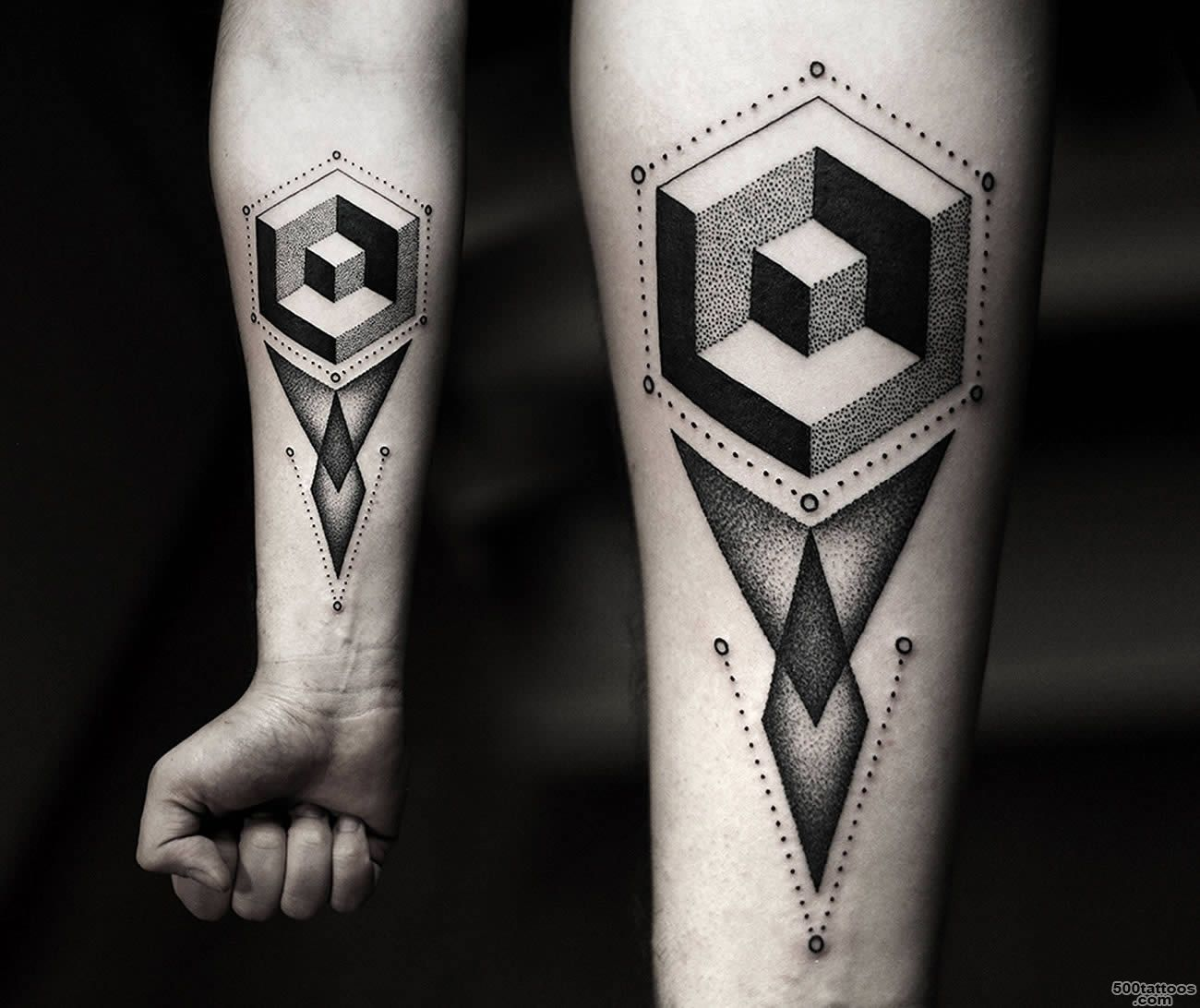 Black Geometric Forearm Tattoo_17
