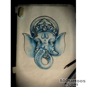 Blue Ink Ganesha Tattoo On Right Shoulder_33
