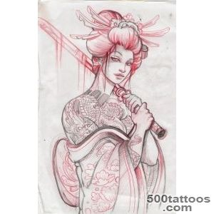 52 Japanese Geisha Tattoo Designs and Drawings with Images _13