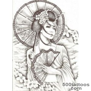 52 Japanese Geisha Tattoo Designs and Drawings with Images _15