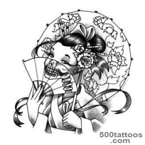 52 Japanese Geisha Tattoo Designs and Drawings with Images _38