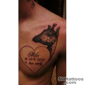 Giraffe Kissing Baby Giraffe Tattoo On Right Thigh_32