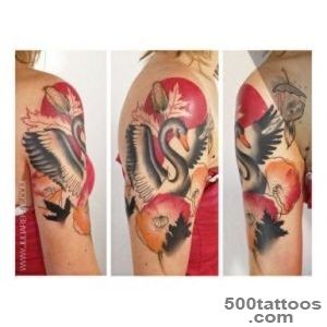 Shoulder Poppy and Goose tattoo by Julia Rehme  Best Tattoo Ideas _11
