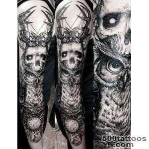 Skull and owl gothic tattoo sleeve  Inked  Pinterest  Tattoo _4