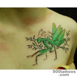 Green Ink Grasshopper Tattoo On Chest  Tattooshuntcom_6
