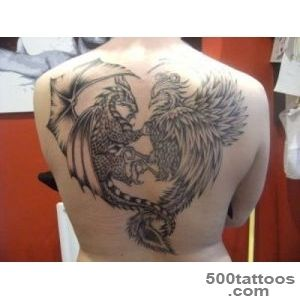 Superb Griffin VS Dragon Tattoo On Back_48