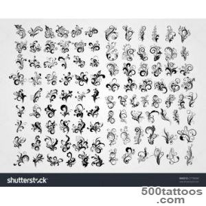 Background With Group Of Retro Black Tattoos, Tattoo Stock Vector _19