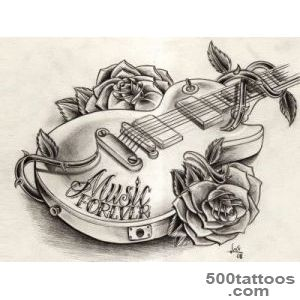 Guitar tattoos design, idea, image