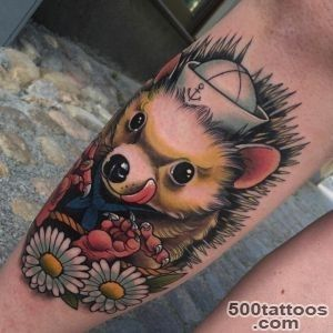Happy Hedgehog Tattoo on Shin  Best Tattoo Ideas Gallery_9