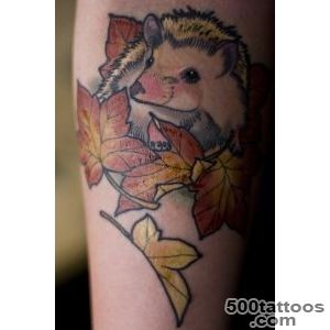 Nice girly pink hedgehog tattoo on arm   Tattooimagesbiz_36