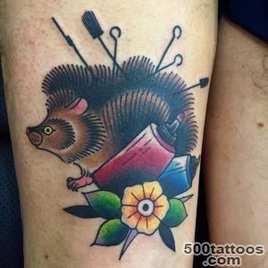 Small cute uncolored hedgehog tattoo   Tattooimagesbiz_16