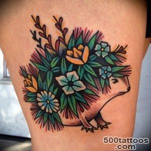 So Cute Flower Hedgehog Tattoo_14