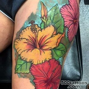 35 Black amp Grey and Colorful Hibiscus Tattoos_12